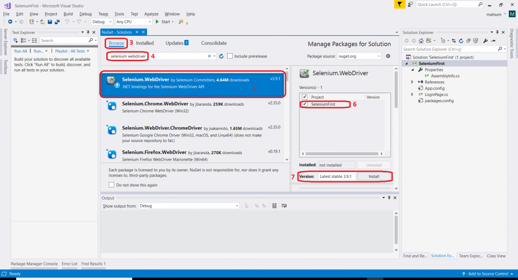 Install Selenium Webdriver in Visual Studio